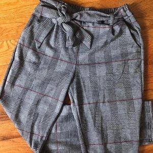 Plaid Houndstooth Gingham Tie Waist Slim Trouser